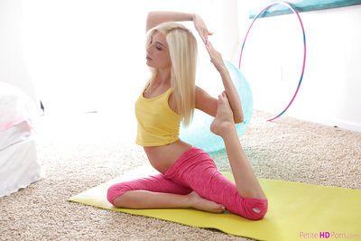 Flexible blonde cutie Piper Perri doing yoga poses in spandex