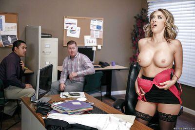 Pornstar Kagney Linn Karter unveiling nice melons before giving office BJ