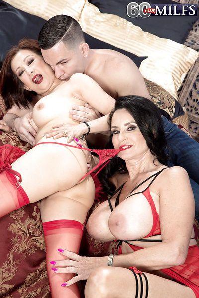 Brunette nan Rita Daniels and cock sucking girlfriend take anal in threesome