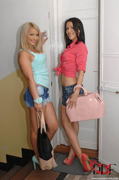 Young European MILFs Lana & Samia Duarte taking anal sex in three way sex