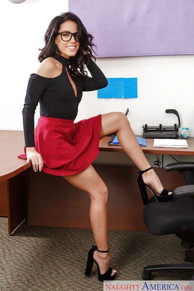 Brunette secretary with great legs Megan Rain inserts butt plug into nice ass