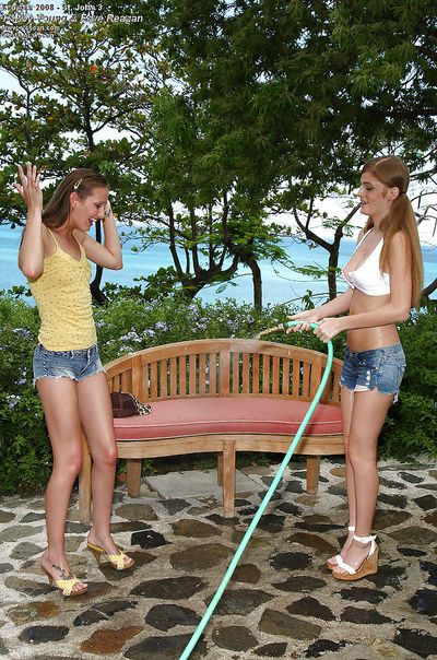 Sweet teenage chicks are into sensual lesbian action outdoor