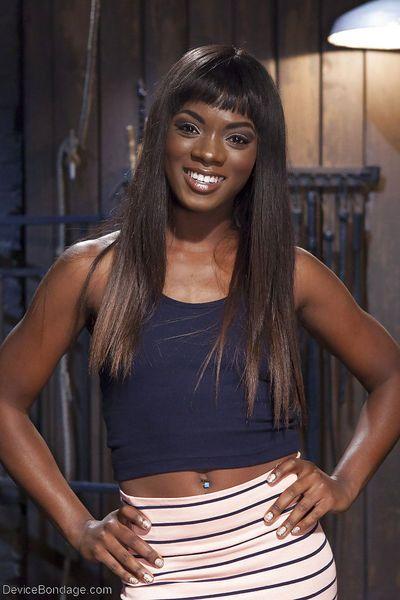 Pretty black girl Ana Foxxx masturbated in hardcore BDSM sex scene