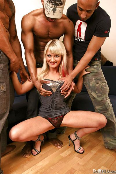 Interracial gangbang with awesome blonde Anita Hengher and blacks