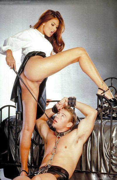 Asian pornstar Tera Patrick guiding male sex slave during hard fuck
