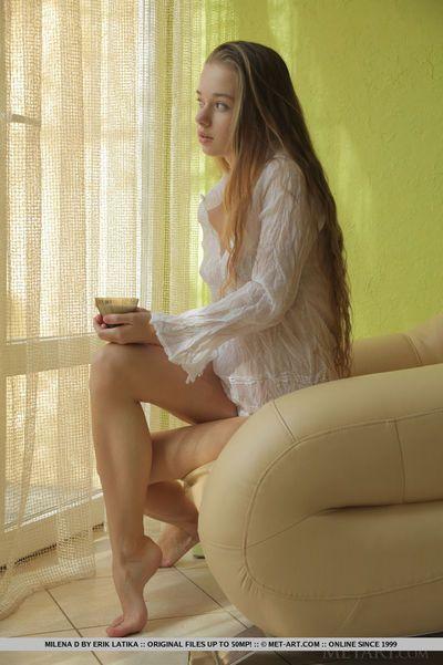 Cute blonde Milena D showing hairy pussy & teen ass wearing sheer lingerie