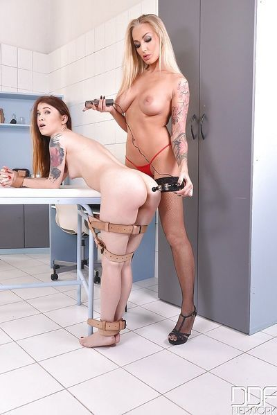 Kinky lesbians Misha Cross and Kayla Green enjoying some fetish play