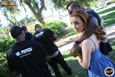 Petite redhead slut Jessie Parker gets gangbanged by brothers from the hood
