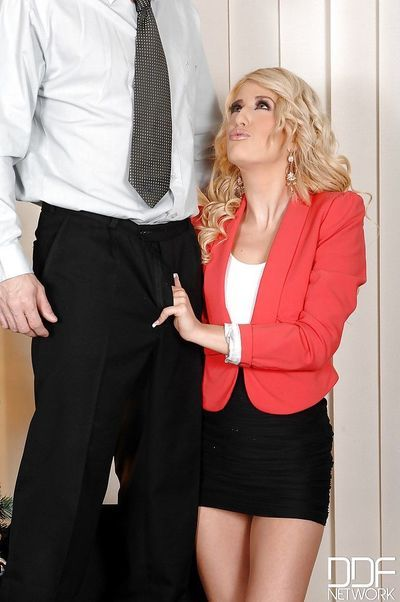 Clothed European office worker hiking skirt while giving deepthroat bj