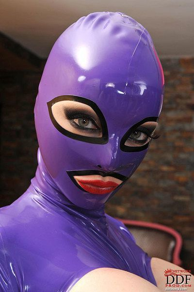 Hot babe in latex outfit Black Angelica has some fetish fun with her friend