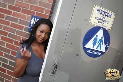 Curvy black chick Aileen Ghettman likes her sex via public bathroom glory hole