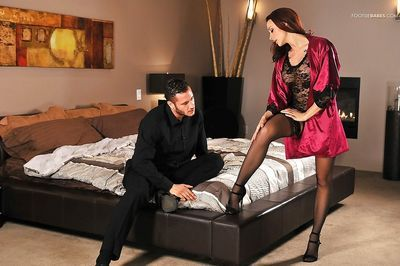 Beautiful babe Chanel Preston uses nylon covered toes to jerk dick