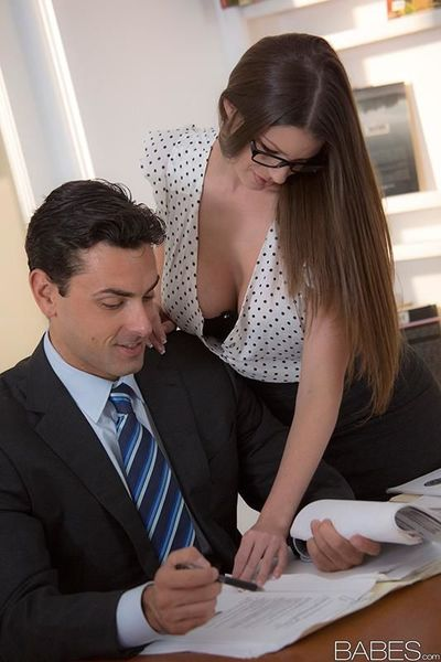Glasses wearing office babe Brooklyn Chase taking cumshot on big tits