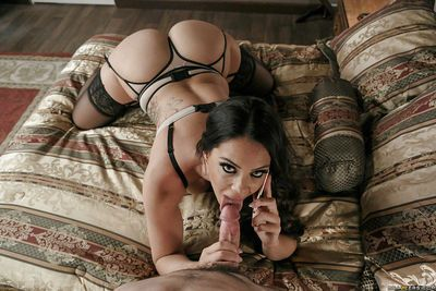 Hot pornstar wife Alison Tyler giving blowjob in super sexy lingerie