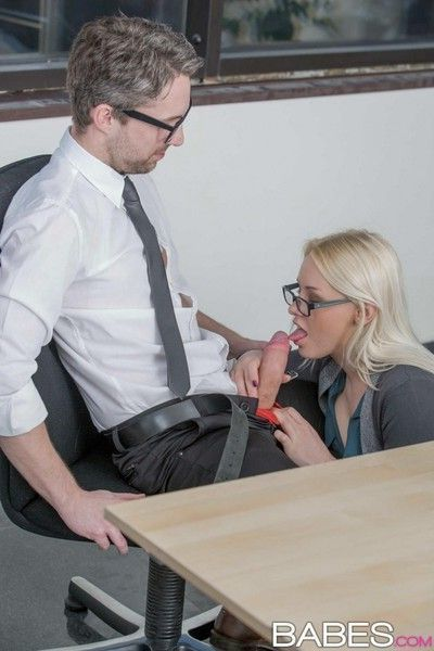Blonde secretary rides dick
