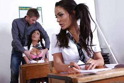 Babe in schoolgirl uniform Anissa Kate begs for big cocks in mouth
