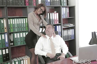 Sweet office girl in glasses Alexis takes a huge cock in her mouth
