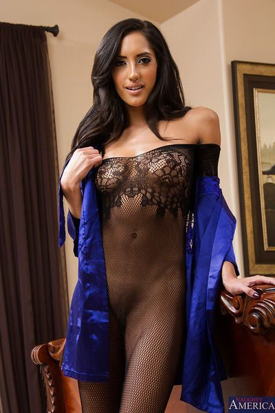 Perfect Latina brunette Chloe Amour showing her body in bodystockings