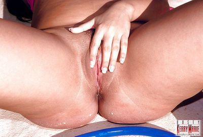 Latina plumper Kerry Marie and her big pornstar juggs get wet in pool