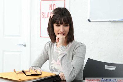 Nora doll sucks and fucks a fat cock in the classroom