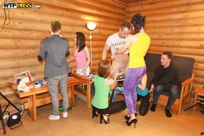 Teens having a party and pleasing one lucky dude and his hard cock