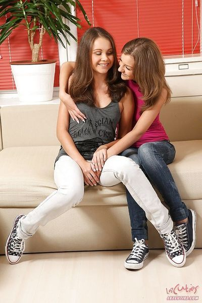 Lusty teens Lizzie & Inna licking and toying each other