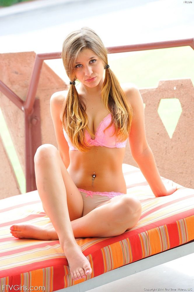 Young and dumb dirty blonde teen in pigtails modeling for first time nudes