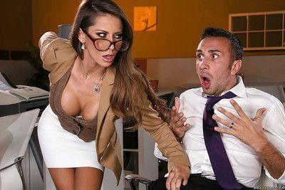 Ravishing office slut gets shagged tough and tastes some hot jizz