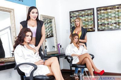 Busty bi-sexual chicks deliver reverse gangbang blowjob in office