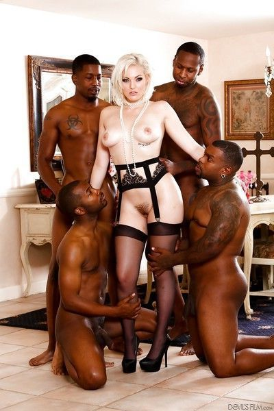 Ravishing blonde starlet Jenna Ivory gets groped by horny black dudes