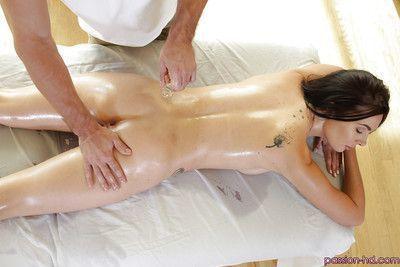 Pornstar Marley Brinx taking hardcore fucking after hot oil massage