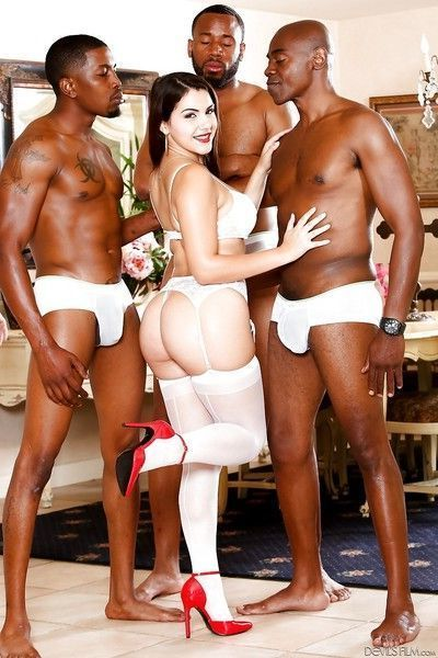 PAWG Valentina Nappi strutting in white stocking before BBC gangbanging