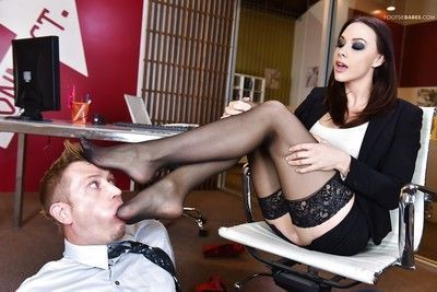 MILF Chanel Preston giving footjob with stockings on and off in office