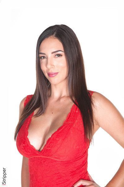 Sexy jelena jensen strips out of her red dress and panties