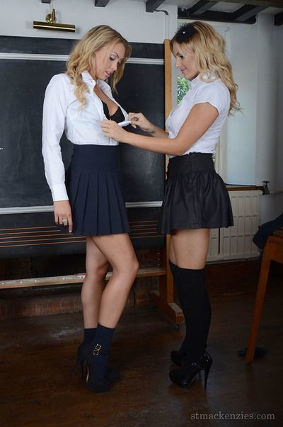 Lesbian schoolgirls Amy Green and Lainey Watson have sex in uniform