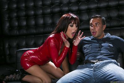 Hot chick in latex Gia Dimarco gets her asshole drilled by a big cock