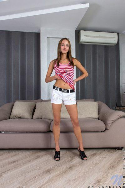 Sex starved teen antuanetta spreads legs to show twat