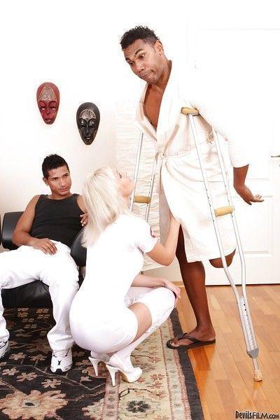Hardcore interracial gangbang with slutty blonde nurse Alisa A