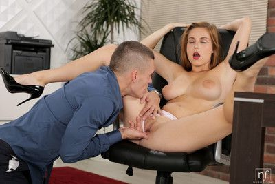 Excited blond fucked in the office from its boss