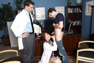 Sexy uniformed doctor with huge hooters Nikki Hunter in groupsex
