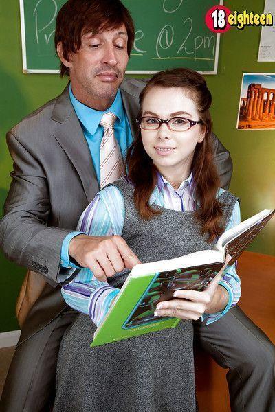 Glasses wearing teen schoolgirl Jennifer Matthews blowing big teacher dick