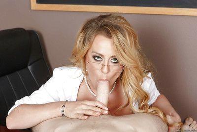 Glamorous blonde teacher in glasses Corinna Blake get cum on her face