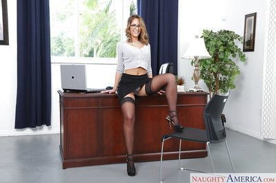 Glasses wearing blond babe Layla London baring big secretary tits in office