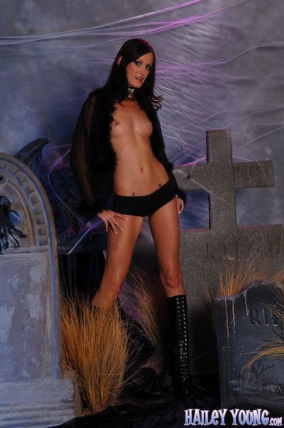 Horny hailey young in halloween graveyard photoset