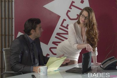 Hot office worker Veronica Vain fucks at work in tan stockings and glasses