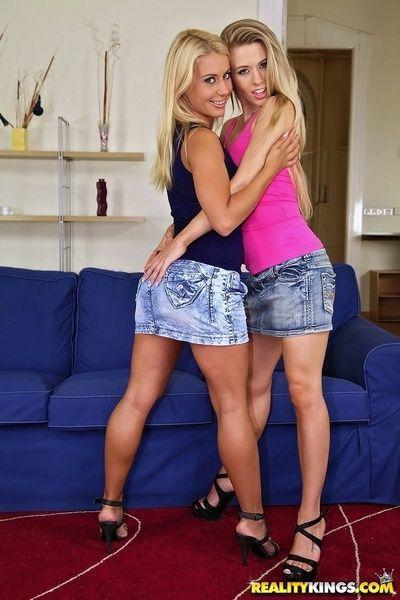 Hot european lesbians Michelle Moist & Nikky Thorne exposing butts