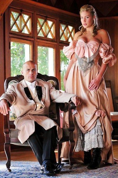 Pornstars Magdalene St Michaels & Elexis Monroe strip off vintage clothing