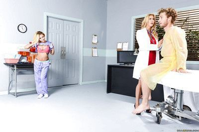 Blond nurses Alexis Fawx and Marsha May shed uniforms before pornstar debut