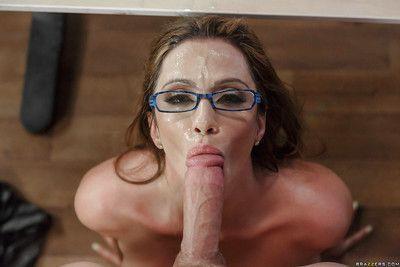 Latina MILF teacher Ariella Ferrera using big boobs to tit fuck cock