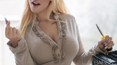 Hot blonde secretary Kyra Hot fucking co-worker in black lingerie